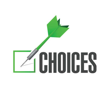 strategic plan: choices check dart concept illustration design over white background