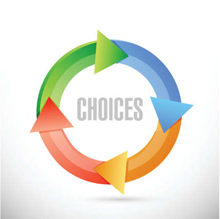 choices: choices color cycle sign concept illustration design over white background