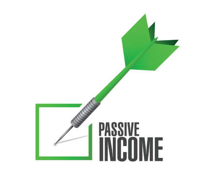 passive income: passive income check dart concept illustration design over white background Illustration