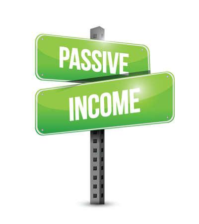 residual income: passive income street sign concept illustration design over white background