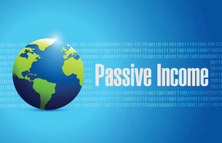income market: passive income international sign concept illustration design over blue binary background Illustration