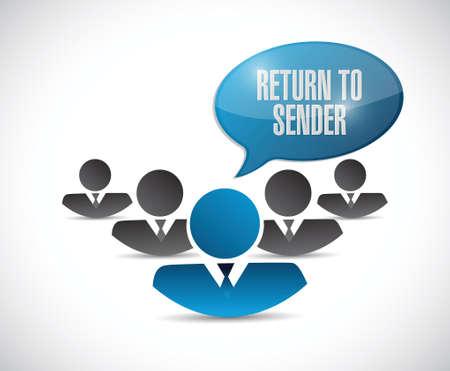 sender: return to sender team message concept illustration design over white