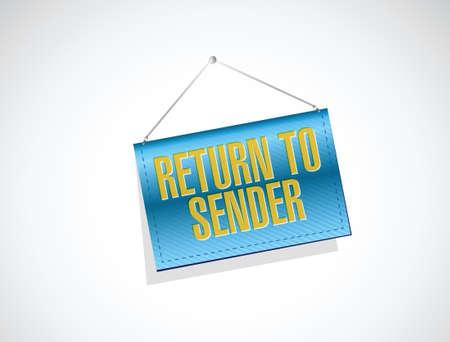 terug naar afzender opknoping banner concept illustratie ontwerp op een witte Stock Illustratie