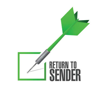 return: return to sender check dart concept illustration design over white
