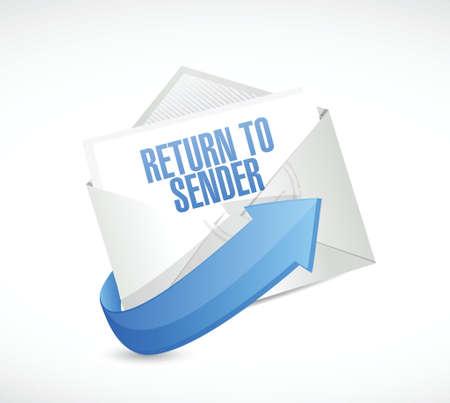 rendement: terug naar afzender mail concept illustratie ontwerp op wit