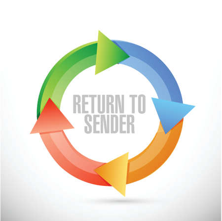 return: return to sender color cycle concept illustration design over white
