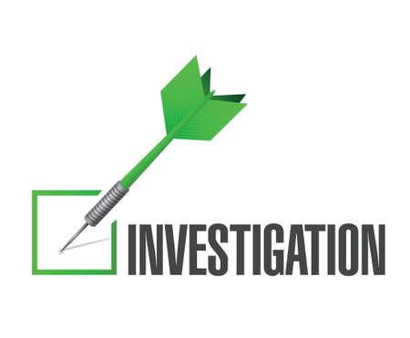 investigation check dart sign concept illustration design over white