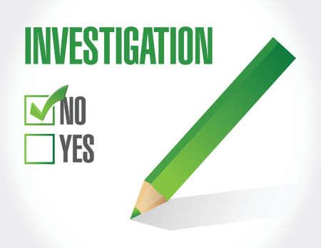 no investigation check mark sign concept illustration design over white