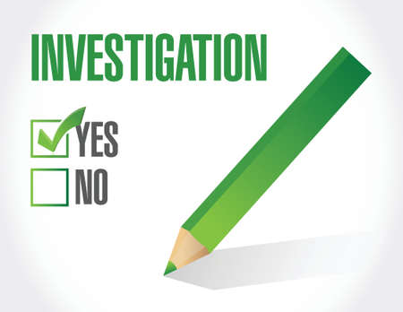 private information: investigation check mark concept illustration design over white