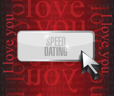 speed dating: speed dating button sign concept illustration design over red