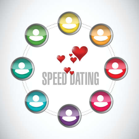 speed dating: speed dating people diagram sign concept illustration design over white