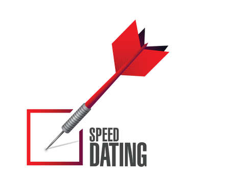 speed dating: speed dating check dart sign concept illustration design over white