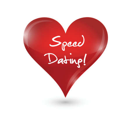 speed dating: speed dating heart sign concept illustration design over white