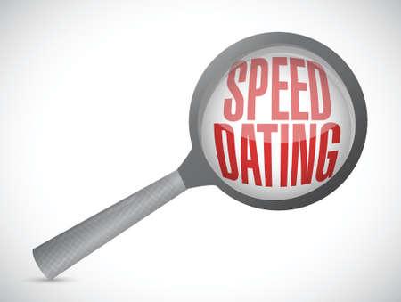 internet dating: speed dating magnify glass sign concept illustration design over white