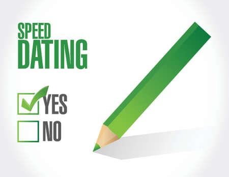 speed dating: speed dating check mark concept illustration design over white