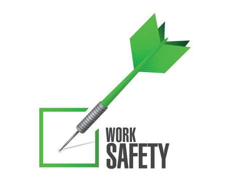 safety check: dise�o de seguridad en el trabajo de verificaci�n dardo concepto ilustraci�n m�s de blanco