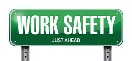 veiligheid op het werk illustratie verkeersbord ontwerp op een witte Stock Illustratie