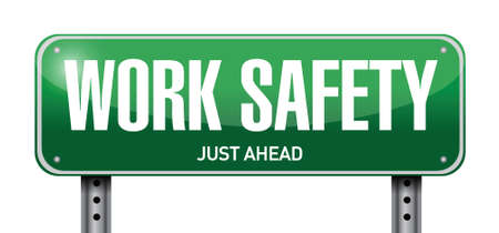 white work: work safety road sign illustration design over white