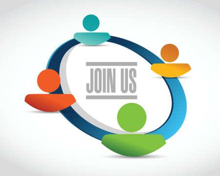 join us people network diagram sign concept illustration design over white