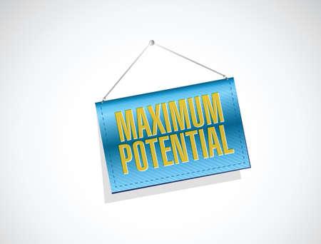 maximum potential hanging banner sign concept illustration design over white Illustration