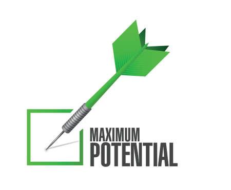 potential: maximum potential check dart sign concept illustration design over white
