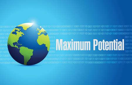 potential: maximum potential globe sign concept illustration design over blue Illustration
