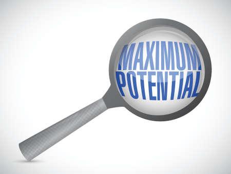 potential: maximum potential magnify sign concept illustration design over white