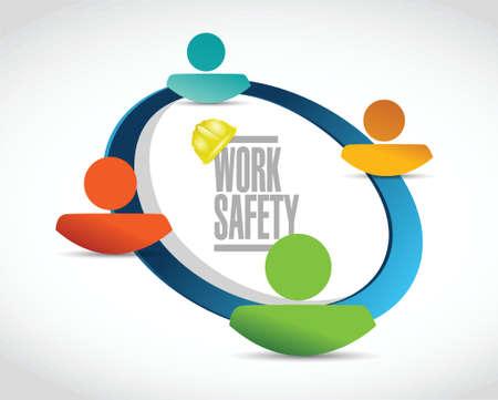 dangerous work: work safety team diagram sign concept illustration design over white Illustration