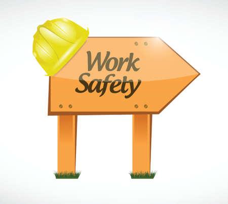 dangerous construction: work safety wood sign concept illustration design over white