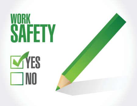 safety check: dise�o de seguridad en el trabajo marca de verificaci�n signo concepto de ilustraci�n m�s de blanco Vectores