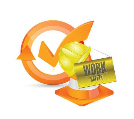 dangerous construction: work safety helmet and sign concept illustration design over white Illustration