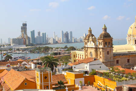 View of the historic center of Cartagena, Colombia with the Caribbean Sea visible in the background