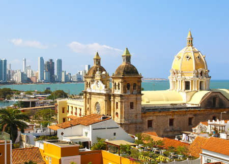 Historic center of Cartagena, Colombia with the Caribbean Sea visible on two sides