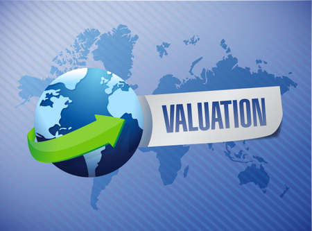 valuation globe sign illustration design over a world background Stock Photo