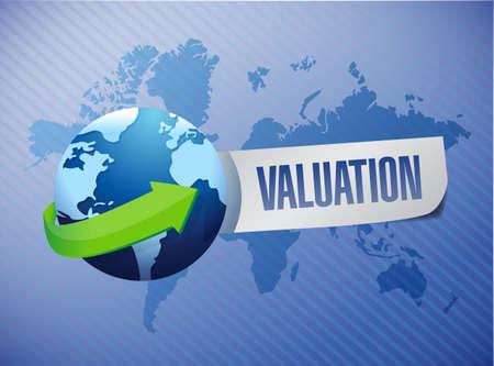 valuation globe sign illustration design over a world background illustration