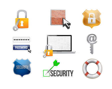 protection icon: security protection concept icon set illustration design over white Stock Photo
