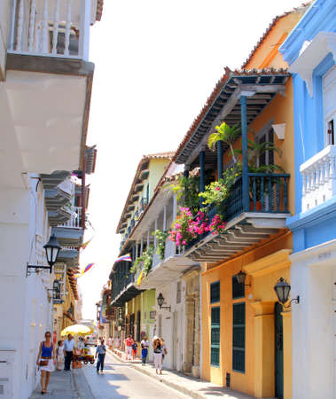 View of balconies in Cartagena, Colombia city centre 에디토리얼