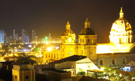 Historic center of Cartagena and boca grande at night. cartagena colombia