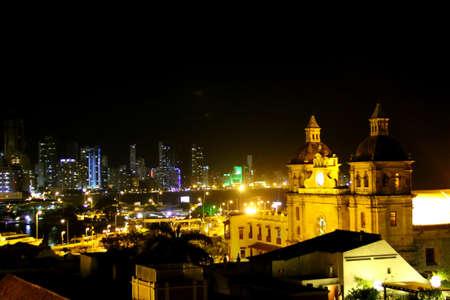 Historic center of Cartagena and boca grande at night. cartagena colombia