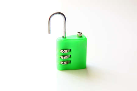 secret code: Open Combination Padlock, isolated on white background