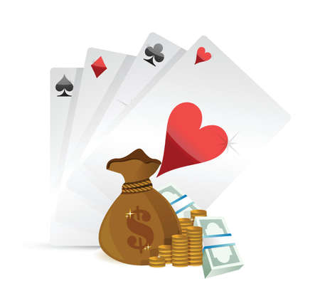 lucky bag: playing cards and money illustration design over white background