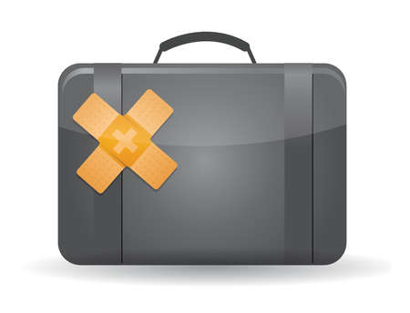 gray suit: suitcase band aid fix solution concept illustration design over white background Illustration