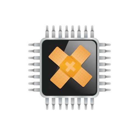 elektronische chip band hulp fix oplossing concept illustratie ontwerp op een witte achtergrond Stock Illustratie