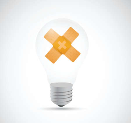 bad idea: idea bulb bandage fix solution concept illustration design over white background Illustration
