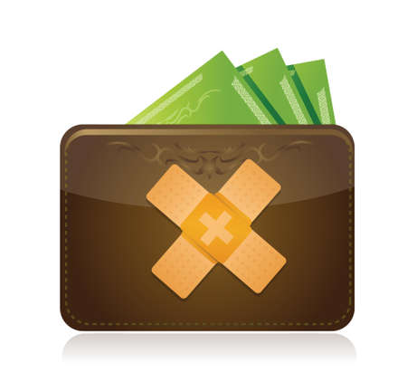 wallet and bandage aid fix solution concept illustration design over white background Illustration