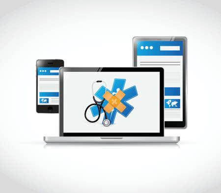 medische online oplossing concept illustratie ontwerp op een witte achtergrond