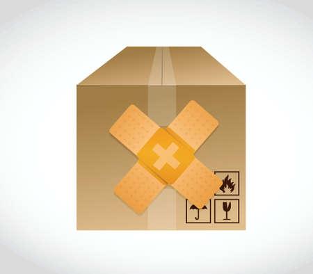 pill box: box bandage fix solution concept illustration design over white background