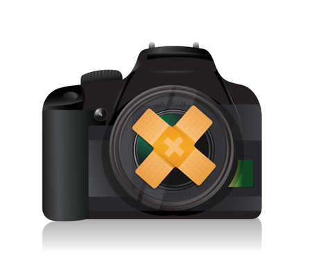digital camera: camera bandage fix solution concept illustration design over white background Illustration
