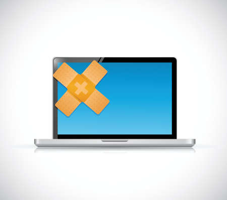 laptop bandage fix oplossing concept illustratie ontwerp op een witte achtergrond