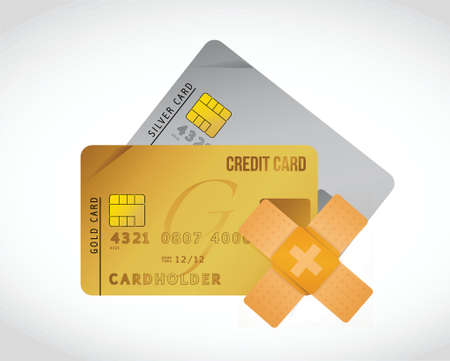 obtain: credit card bandage fix solution concept illustration design over white background